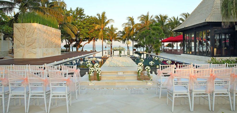 water wedding venue at the royal santrian - the bali channel