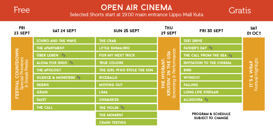 open air schedule - the bali channel