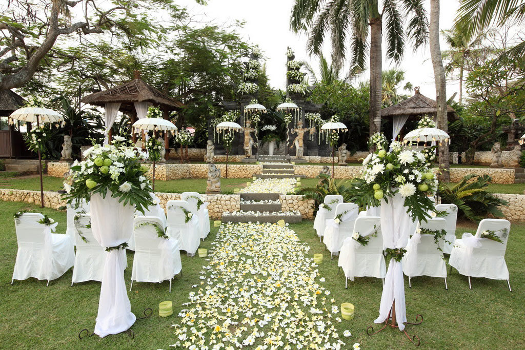 balinese stage wedding venue at bali mandira resort legian