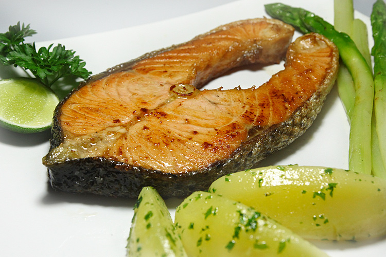 salmon steak at arena pub restaurant sanur bali