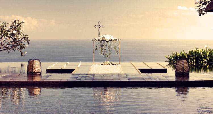 bulgari resort bali floating wedding venue with indian ocean view